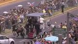Pope comes to aid of policeman after horse mishap
