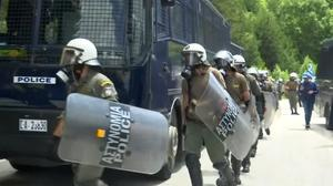 Protests on the Greece-Macedonia border as Macedonia changes its name