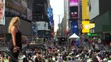Yoga summer solstice celebration in Times Square