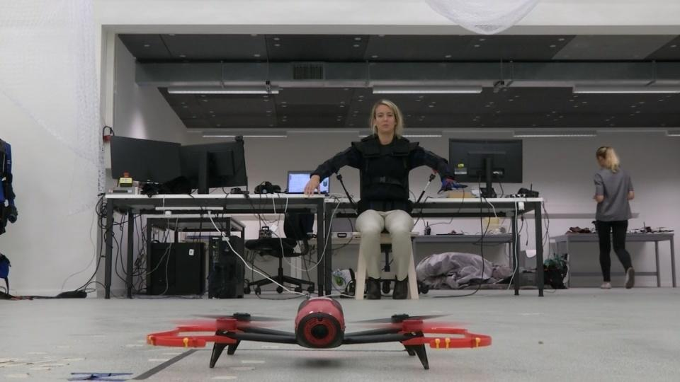Piloting a drone using your body's movements