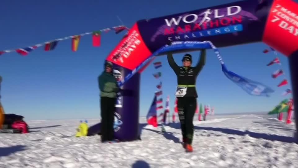 Runners kick off world marathon in the Antarctic