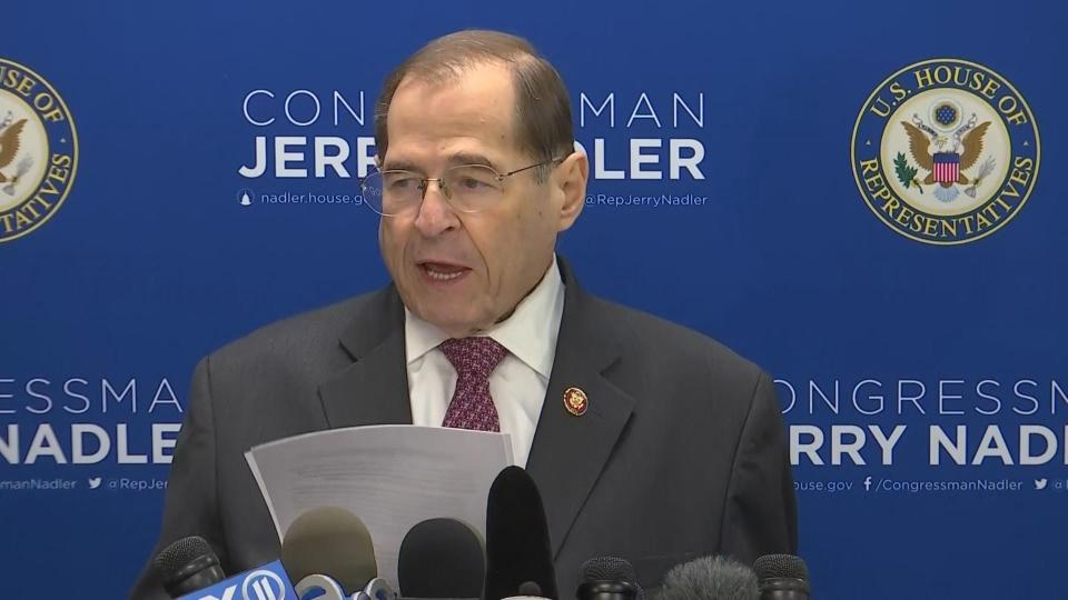 "Mueller shows evidence of ""obstruction of justice'': Nadler"
