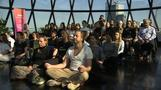 Brits meditate at top of London's iconic Gherkin
