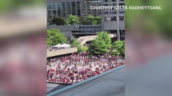 Dramatic video shows Raptors stampede after gunshots