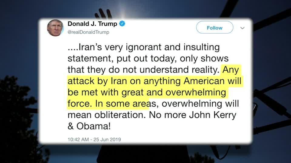 Trump threatens Iran with 'obliteration'