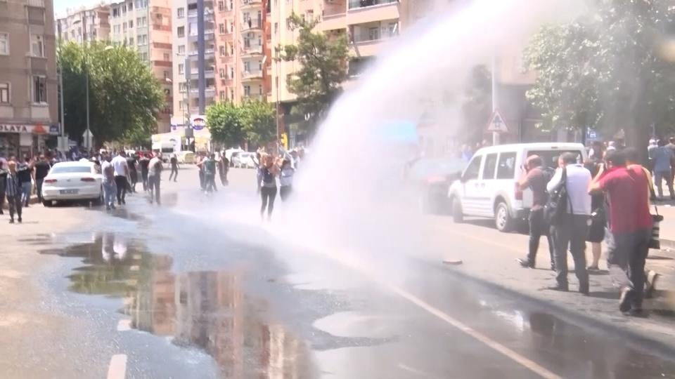 Turkish police use water cannon to disperse protesters