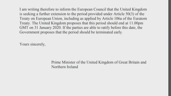 UK PM Johnson sends unsigned request for Brexit delay