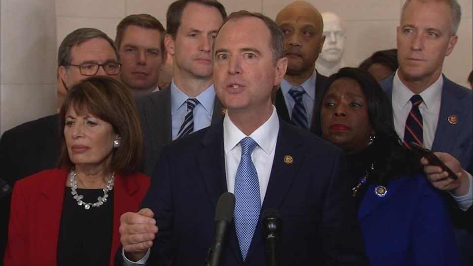 Schiff, Jordan speak to reporters over Sondland, whistleblower