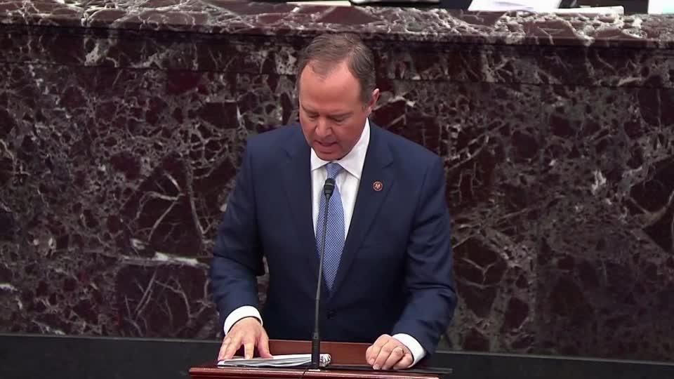 Schiff, Trump's lawyer make initial cases to Senate