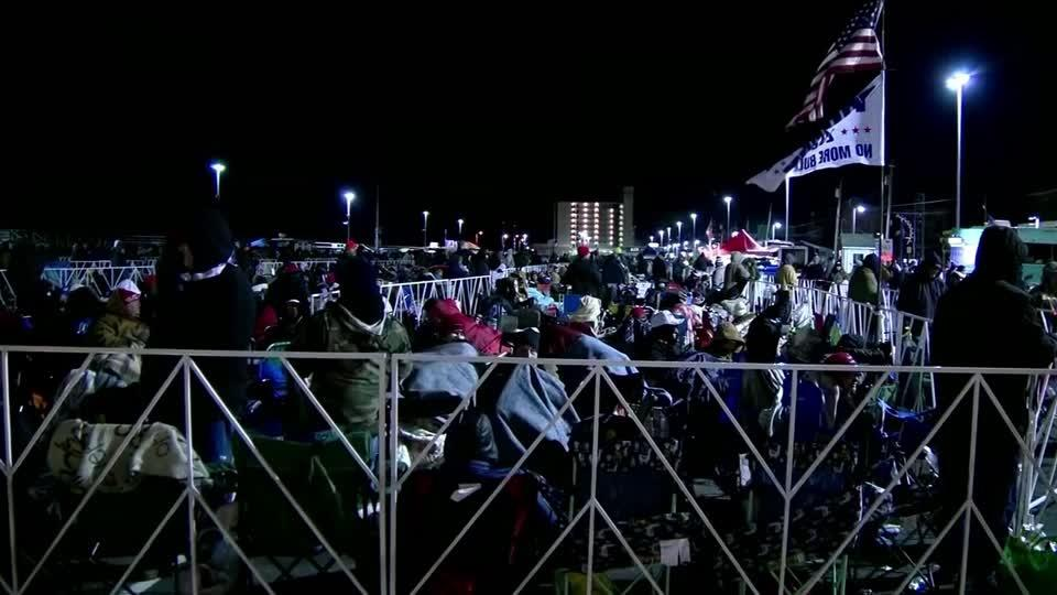 Crowds of Trump fans camp overnight to see NJ rally