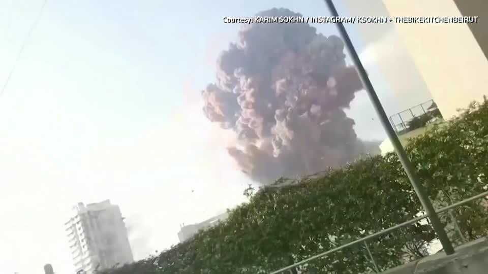 Massive explosion hits Beirut port area