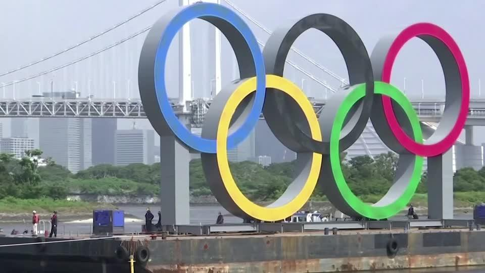 Olympic rings removed temporarily from Tokyo Bay