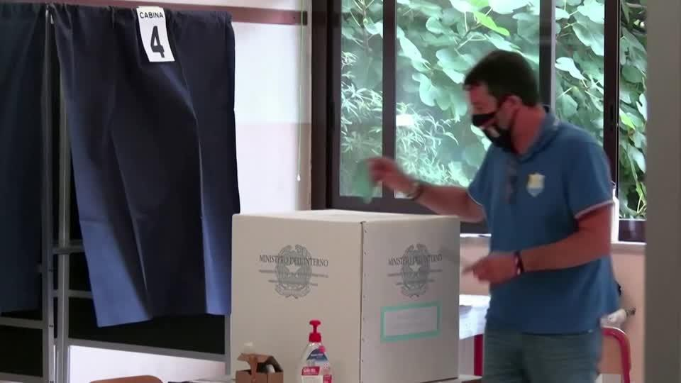 Salvini votes in Italy's first COVID election