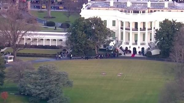 トランプ米大統領がホワイトハウスを去る(20日)