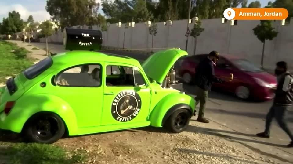 Jordanian turns VW Beetle into coffee shop