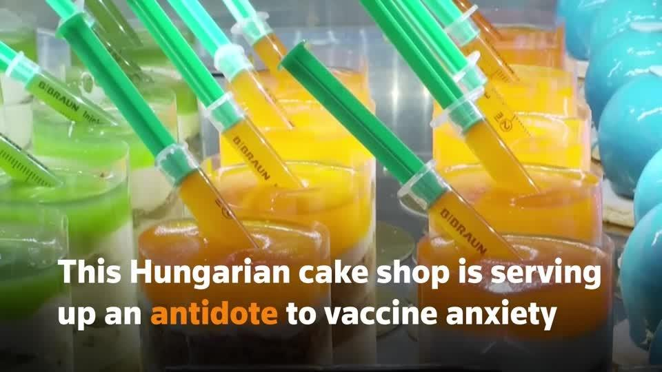 Hungarian cake shop serves up sweet COVID shots