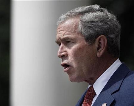 President George W. Bush makes a statement after meeting with members of Military Support Organizations at the White House in Washington, July 20, 2007. A U.S. summit in September on climate change, one of at least four international meetings set for this year, is already raising doubts about any action being taken before President George W. Bush leaves office. REUTERS/Jason Reed