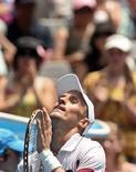 <p>Российский теннисист Николай Давыденко после победы над французом Марком Жикелем на турнире Australian Open 18 января 2008 года. Российские теннисисты Михаил Южный и Николай Давыденко вышли в 1/8 финала турнира Australian Open. (REUTERS/Steve Holland)</p>