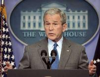 <p>Президент США Джордж Буш на пресс-конференции в Белом доме в Вашингтоне 28 февраля 2008 года. Президент США Джордж Буш отверг предположение, что вероятный новый президент России будет марионеткой Владимира Путина. (REUTERS/Larry Downing)</p>