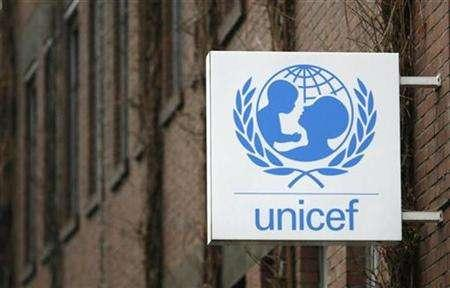 The logo of the United Nations Childrens Fund, UNICEF, is pictured at their German headquarters in Cologne February 20, 2008. REUTERS/Ina Fassbender