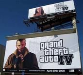 """<p>Una pubblicità usata per il lancio di """"Grand Theft Auto 4"""" a Los Angeles. REUTERS/Lisa Baertlein (UNITED STATES)</p>"""