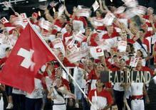 <p>Un'immagine d'archivio della delegazione svizzera guidata da Roger Federer nella scorsa edizione dei Giochi olimpici. REUTERS/Wolfgang Rattay AW/DL</p>