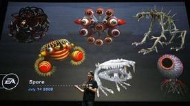 "<p>Presentazione del gioco ""Spore"" di Electronic Arts all'E3 Media & Business Summit di Los Angeles, il 14 luglio 2008. REUTERS/Mario Anzuoni (Usa)</p>"