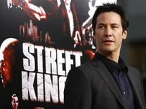"""<p>Cast member Keanu Reeves poses at the premiere of """"Street Kings"""" at the Grauman's Chinese theatre in Hollywood, California April 3, 2008. REUTERS/Mario Anzuoni</p>"""