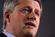 <p>Conservative leader and Prime Minister Stephen Harper speaks during a campaign rally in Courtenay, British Columbia September 24, 2008. REUTERS/Chris Wattie</p>