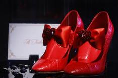 <p>A pair of shoes designed by A. Testoni from the Ruby Slipper collection are displayed during New York Fashion Week in this September 5, 2008 file photo. REUTERS/Brendan McDermid/files</p>