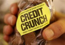"""<p>""""Credit Crunch"""" chocolates are seen for sale in Selfridges department store, in London in this October 7, 2008 file photo. To match feature FINANCIAL/EUROPEANS REUTERS/Stephen Hird/Files</p>"""