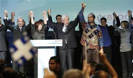 <p>Bloc Quebecois leader Gilles Duceppe stands on stage after speaking to supporters at his election night headquarters in Montreal, October 14, 2008. REUTERS/Mathieu Belanger</p>