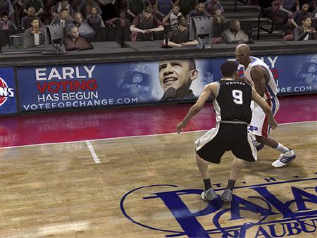 An advertisement for Democratic presidential nominee Senator Barack Obama (D-IL) is shown in a screen grab image from the EA Sports online video game ''NBA Live 08'' for Xbox Live 360 in this publicity photo released to Reuters October 15, 2008. The Democratic senator from Illinois is using the ads, placed in 18 video game titles, as part of a larger promotion of his campaign's online voter registration and early balloting drive in 10 battleground states, a campaign spokesman said. REUTERS/Courtesy of the Obama Campaign/Handout