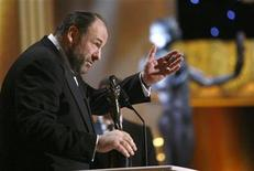 "<p>Actor James Gandolfini accepts the award for best actor in a drama series for ""The Sopranos"" at the 14th annual Screen Actors Guild Awards in Los Angeles January 27, 2008. REUTERS/Mario Anzuoni</p>"