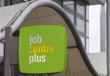 A sign for a job centre is seen at offices in west London October 15, 2008. REUTERS/Toby Melville
