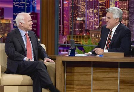 Senator John McCain appears on NBC's ''The Tonight Show with Jay Leno'' at the NBC studios in Burbank, November 11, 2008. REUTERS/Paul Drinkwater/NBC/Handout