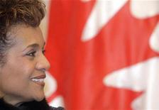 <p>The Governor General of Canada Michaelle Jean listens as Slovenia's President Danilo Turk speaks during a news conference during her visit to Slovenia at castle Brdo near Kranj December 3, 2008. REUTERS/Srdjan Zivulovic</p>