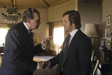 """<p>Actors Frank Langella and Michael Sheen are shown in a scene from the Universal Studios film """"Frost/Nixon"""" in this undated publicity photo released to Reuters November 25, 2008. REUTERS/Ralph Nelson/Universal Studios/Handout</p>"""