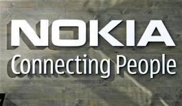 <p>Il logo di Nokia. Picture taken July 9, 2008. REUTERS/Bob Strong (FINLAND)</p>