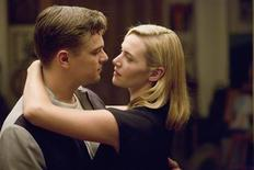"""<p>Actors Leonardo DiCaprio (L) and Kate Winslet are shown on the set of the Dreamworks Pictures film """"Revolutionary Road"""" in this undated publicity photo released to Reuters November 25, 2008. REUTERS/Francois Duhamel/Dreamworks Pictures LLC/Handout</p>"""