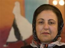 <p>Iran's Nobel Peace Prize winner Shirin Ebadi poses before an interview with Reuters in her office in Tehran March 16, 2008. REUTERS/Steve Crisp</p>