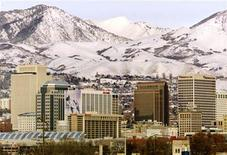 <p>The skyline of Salt Lake City is shown December 16, 2001, as the city readies itself to host the 2002 Winter Olympic Games. REUTERS/Mike Blake</p>