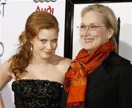 "<p>Actresses Amy Adams (L) and Meryl Streep pose at a screening of their film ""Doubt"" during the opening night of the AFI Fest 2008 in Hollywood, California October 30, 2008. REUTERS/Fred Prouser</p>"