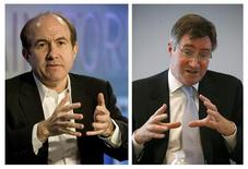 "<p>Philippe Dauman (L), president and CEO of Viacom Inc, and Glenn A. Britt, president and CEO of Time Warner Cable, are shown in this combination photograph from 2008 and 2006 file photos. The two companies reached an agreement in principle on Thursday that avoided a blackout that would have prevented more than 13 million U.S. subscribers from seeing popular TV shows like ""Dora the Explorer"" and ""The Daily Show with Jon Stewart."" REUTERS/Files</p>"