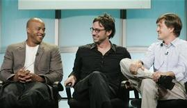 """<p>Actors Donald Faison (L) and Zach Braff (C), two of the stars of the new to ABC comedy series """"Scrubs"""", and executive producer Bill Lawrence take part in a panel discussion at the Disney ABC Television Group summer press tour in Beverly Hills, California July 16, 2008. REUTERS/Fred Prouser</p>"""