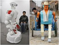 <p>A combination photo shows two differing approaches to robot design in Asia. (L) Twendy-One, a robot designed to help elderly and disabled people around the house, is put through its paces at Waseda University in Tokyo January 8, 2009. Twendy-one was designed by robotics researchers at Waseda University to have human-sized four-fingered hands cabable of picking up and holding delicate objects without crushing them. (R) Farmer Wu Yulu drives his rickshaw pulled by a his self-made walking robot near his home in a village on the outskirts of Beijing January 8, 2009. This robot is the latest and largest development of hobby inventor Wu, who started to build robots in 1986, using wire, metal, screws and nails found in rubbish sites. REUTERS/Issei Kato / Reinhard Krause</p>
