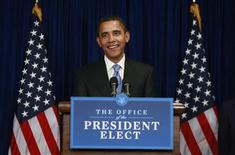 <p>President-elect Barack Obama speaks to the media during a news conference at his transition office in Washington January 7, 2009. REUTERS/Jason Reed</p>
