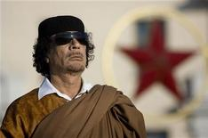<p>Libyan leader Muammar Gaddafi attends a wreath-laying ceremony in Victory Square in central Minsk, Belarus, November 3, 2008. REUTERS/Vasily Fedosenko</p>