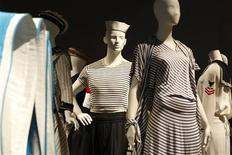"""<p>Creations by French designers are displayed for the exhibition """"When the Navy inspires French fashion"""" at the Musee National de la Marine in Paris February 24, 2009. REUTERS/Benoit Tessier</p>"""