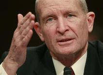<p>Il direttore del servizio d'intelligence americano Nsa, l'ammiraglio Dennis Blair, durante un'audizione al Senato. REUTERS/Jason Reed</p>